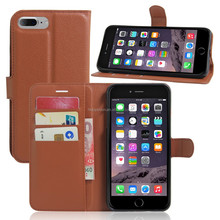 Litchi leather grain wallet bag for iphone 7, for iphone 7 flip leather pouch case