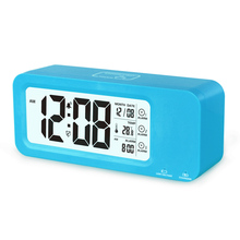 Rechargeable Battery LCD Calendar Alarm Clock with Temparature Display for home decor