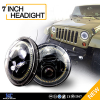 "Y&T DOT E-mark round 7"" inch LED Headlights 40w / 45w headlamp assembly H4 High/Low beam for Jeep"