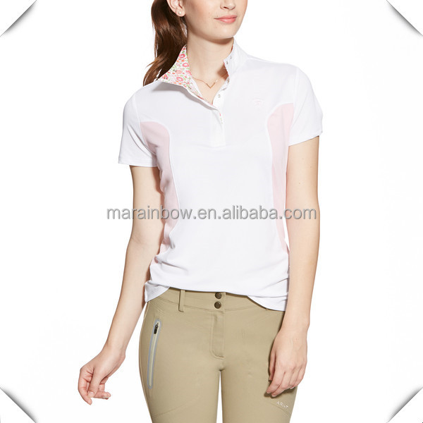Women Ladies customzied horse riding clothes wholesale fashion design dry fit equestrian horse riding polo shirts design