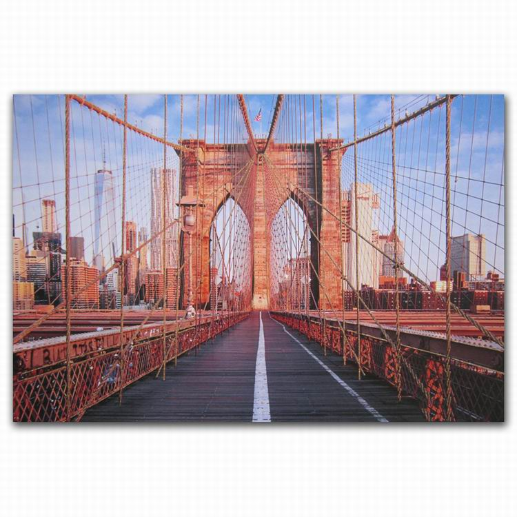 City bridge style glitter scenery wall oil painting on canvas