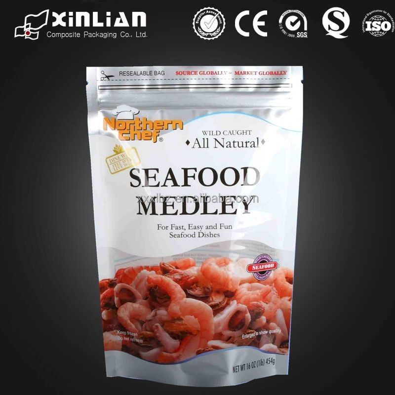 high quality stand up frozen food pouch/frozen food packaging/seafood packaging bag