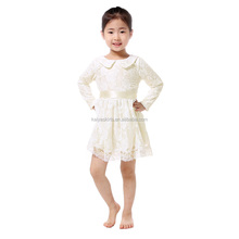 The latest princess white lace logsleeve lovely frocks designs for small girls