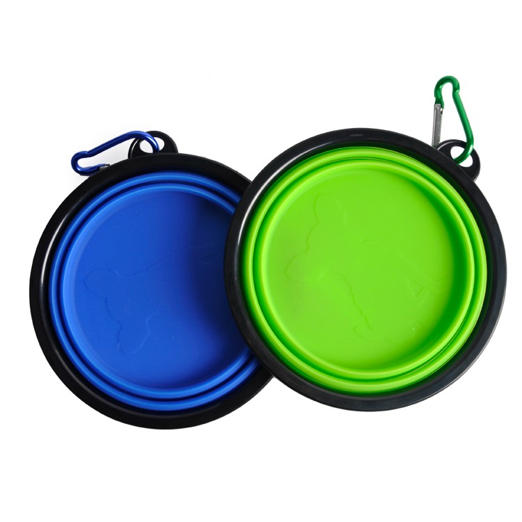 New design BPA free FDA approved Food Grade silicone large size portable travel collapsible dog pet bowl with carabiner