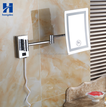 Bathroom wall mount makeup mirror cosmetic magnification mirror Chrome finish with led light