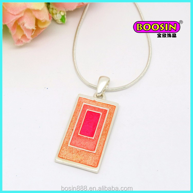 Fashion wholesale alloy enamel pink pendant metal matt silver jewellery alloy necklace from Guangzhou #18711