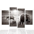 4 Pieces African Grassland Elephant Painting Photo Printed on Canvas HD Giclee Animal Printing Wall Decor Medium Size/SJMT1966