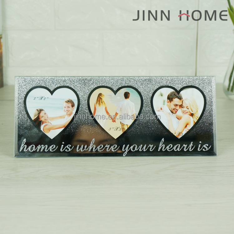 Jinnhome High Quality Three Heart Shape Glass Photo Frame Silver Glitter Picture Frame Wedding Couples Photo Frame