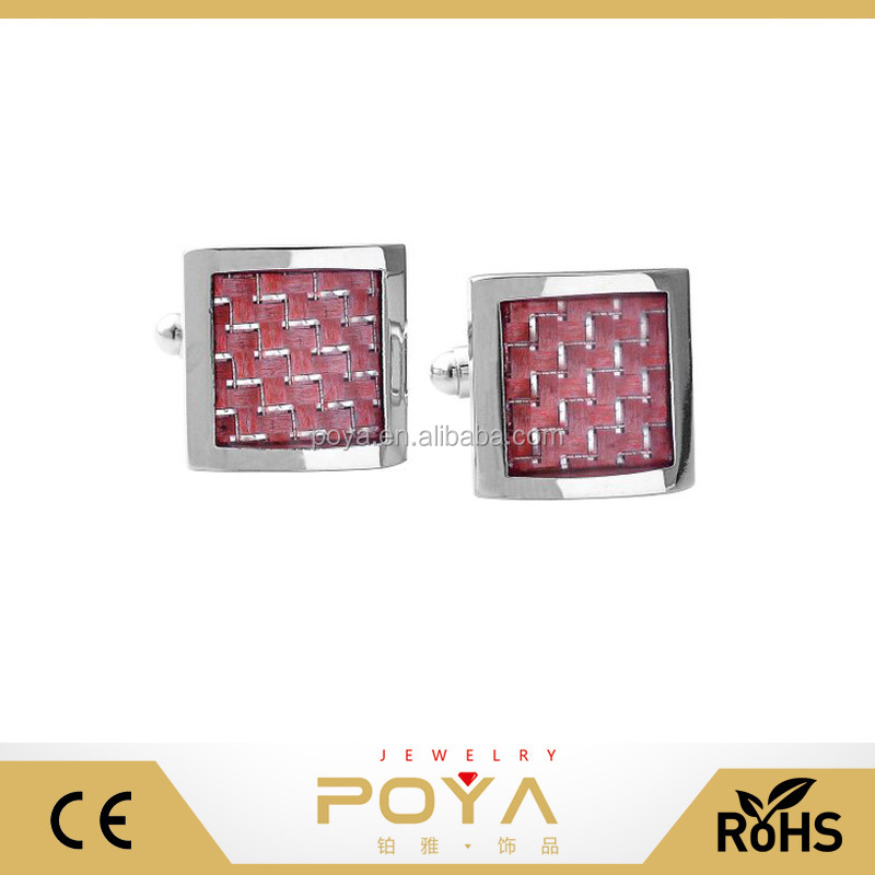 POYA Jewelry Stainless Steel Classic Men's Cufflinks,Pink Brick Red Grid Silver Tone