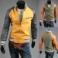 Men PU Leather Sleeve Baseball Splice Jacket Denim Coat M/L/XL/2XL