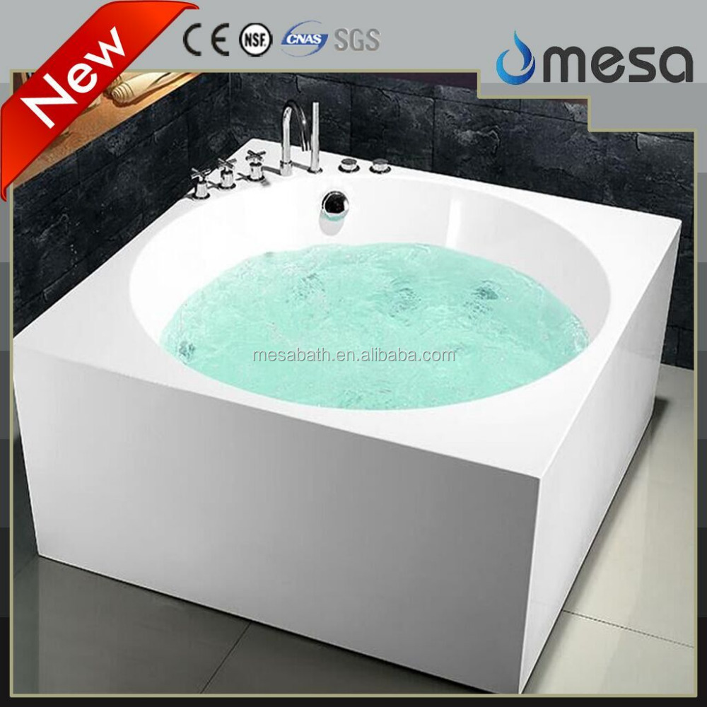 Fashionable rectangle massage bathtub acrylic material whirlpoor bath for bathroom with certificates