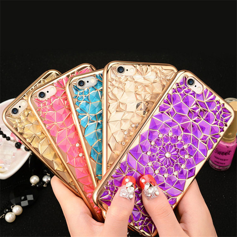 Wholesale Fashion Rhinestone Plating Flower Mobile Phone case bling cover For iPhone X 8 8 Plus