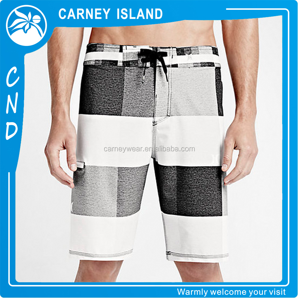Hot sale long black white board shorts swim trunks