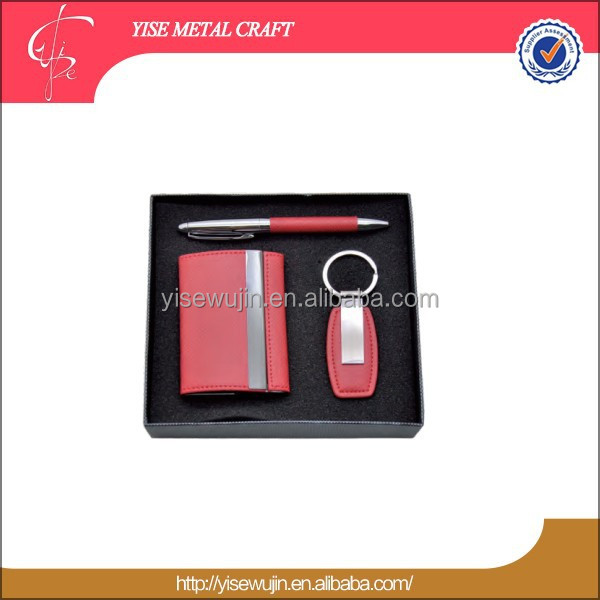 Personalized gifts wholesale office High quality Pen key chain card holder Corporate Advertising Gift Set