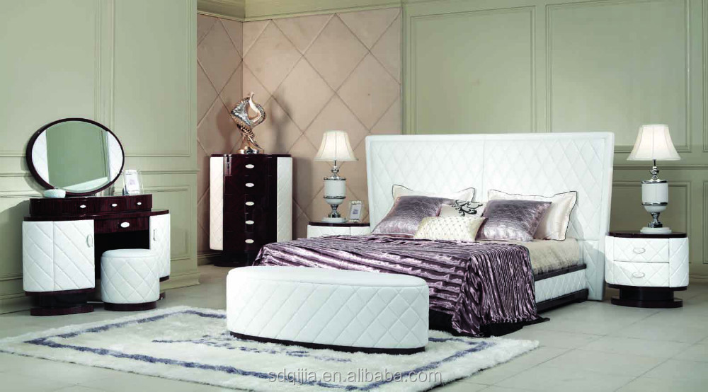 Luxury White Leather Bedroom Set - Buy Leather Bed,White Leather ...
