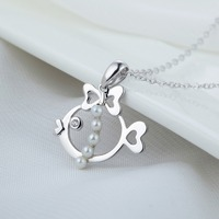 Nice natural pearl 925 sterling silver pendant little fish design jewelry