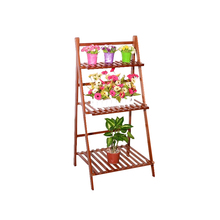 3Tiers Natural 100% Bamboo Folding Wooden Flower Pot Display Rack