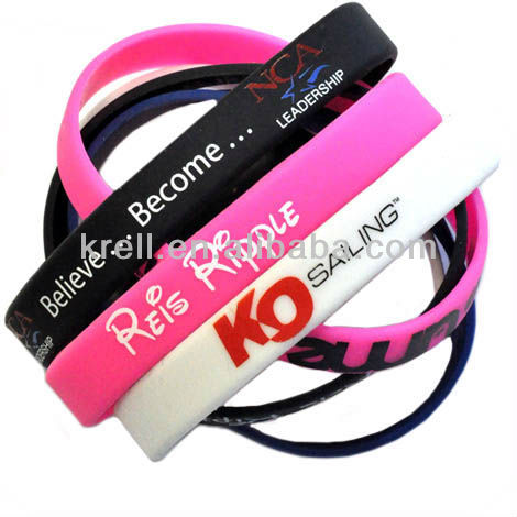Top sell silk screen printed silicone bracelet 2015