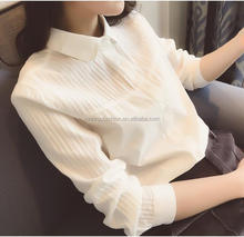 Monroo korean pattern spring lady ruffle tops new design casual women blouse