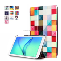 OEM color printing pattern 3 fold flip leather tablet case for Samsung Tab E 8.0