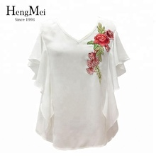 Alibaba supplier off shoulder latest floral embroidered women tops V neck blouse