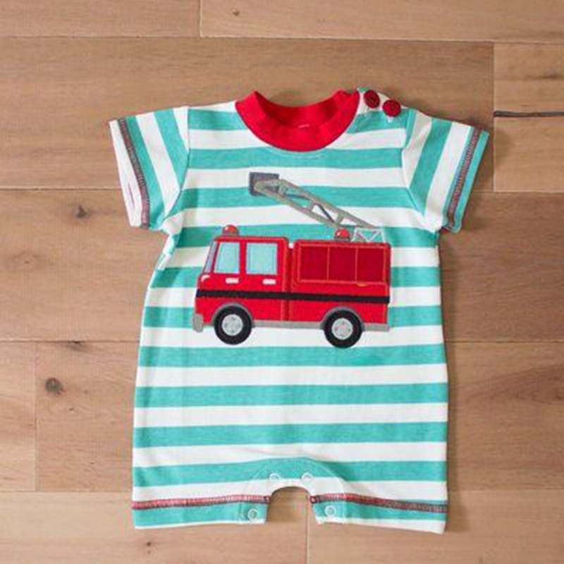 manufacture custom fire fighting truck 0-24M baby onsie cotton baby romper
