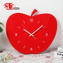 Kitchen decor red Fruit shape Wooden Wall Clock