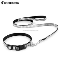 Custom logo printed nylon chevron strip ribbon dog collar and leash set on sale