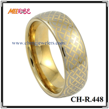2017 Fashionable celtic knot laser cut wedding gents gold rings