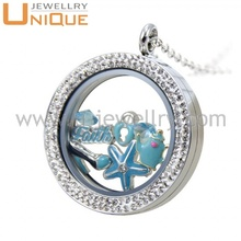 Newest lovely stylish locket , Stainless steel crystal custom necklace glass locket