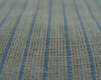 100% plain linen Natural fabric with blue stripes