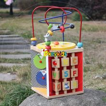 2017 wholesale educational wooden toy with beads maze new design kids wooden toy with beads maze W11B136