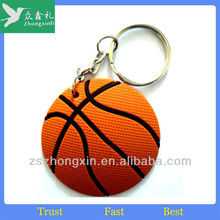 Fashion Basket Ball Rubber Keychain For Giveaway