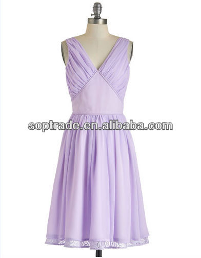 Lavender Deep V Sexy Elegant Party Smart Casual Dresses