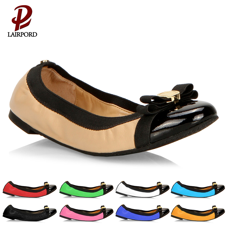 2017 Walk comfortably fanshion bow design splicing colour new products female casual lady flat shoes Genuine Leather