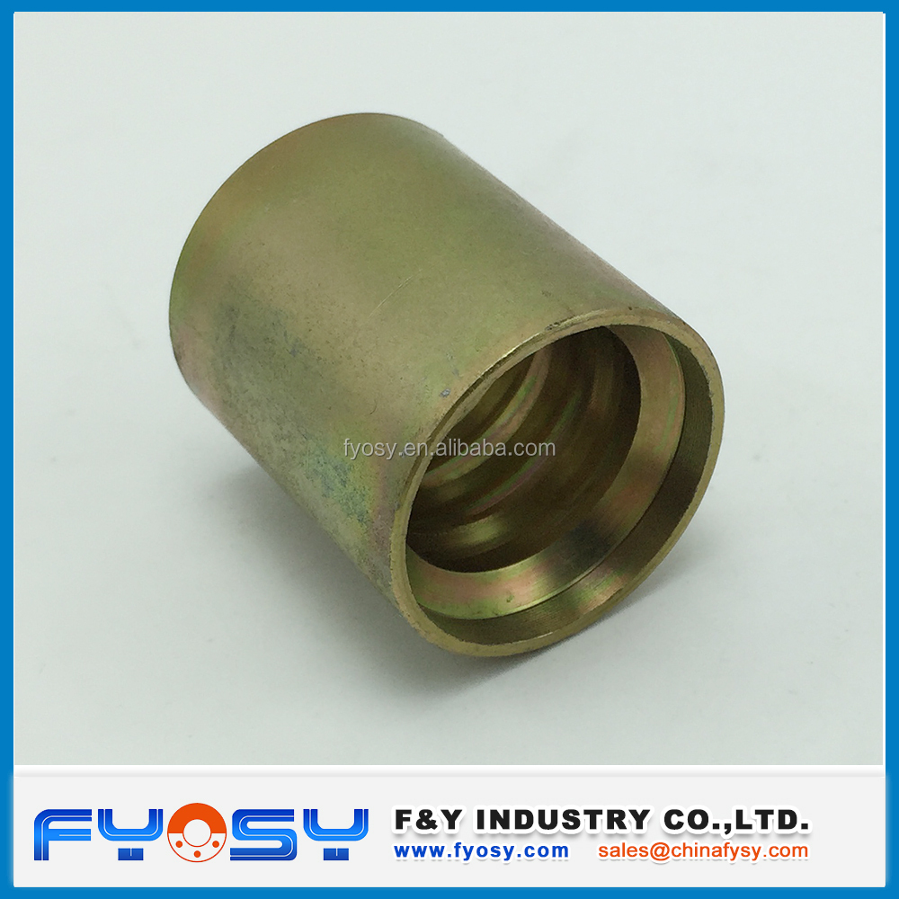 carbon steel yellow zinc plated hydraulic hose ferrule / hydraulic ferrule fitting