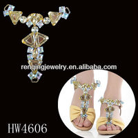 2016 new design glass sandal chain shoe accessories for high heel