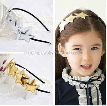 EW Girls Lovely Bling Gold Stars Headband