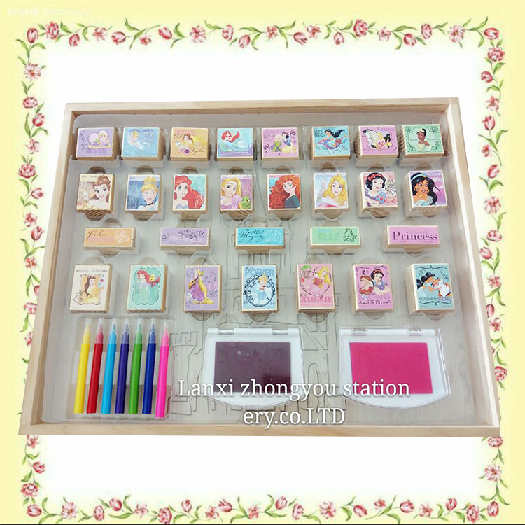 Custom rubber stamp set with 4 stamps and 1 ink pad