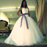 Hot Sale New Arrival Beautiful Ivory Tulle Ball Gown Wedding Dress Bridal Gowns With Purple Ribbon