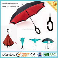 Windproof double layer reverse umbrella with C shape handle from shenzhen factory