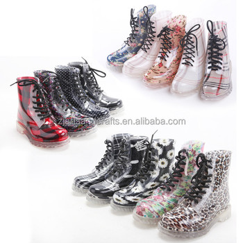 Wholesale lace-up ankle plastic martin boot pvc rain boot