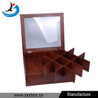 Glass Lid Solid Wooden 12 Compartments Storage Tea Box