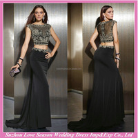 HE10089 black two piece evening gown with train off shoulder elegant beading evening dresses