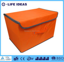 pure color printing fabric polyester toys storage box with lids covered orange