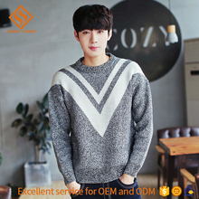 guangzhou men sweater 2017 crewneck thick pullover acrylic knitting big letter v pattern sweater
