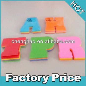 Colorful alphabet shaped scrapbook letter sticky notes