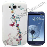 Luxury Red Flower Diamond Embossment Protective Back Cover Hard Case for Samsung i9300 Galaxy S3 with crystal