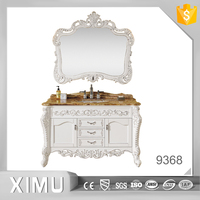 luxury handmade solid wood bathroom sink cabinet with silver decorate