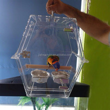 Top sell clear PMMA acrylic bird cage decorative acrylic parrot bird display cage in UK